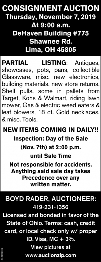 Consignment Auction - November 7