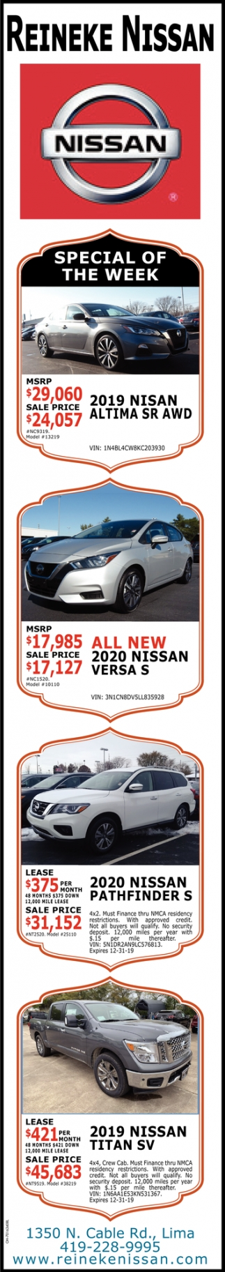 Special of the Week - 2020 Nissan Pathfinders