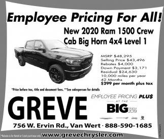 New 2020 Ram 1500 Crew Cab Big Horn 4x4