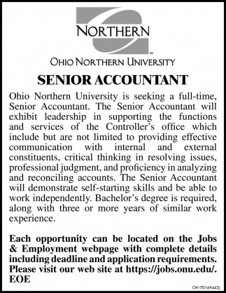 Full Time - Senior Accountant