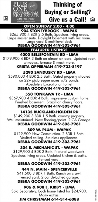 Thinking of Buying or Selling? Give us a call