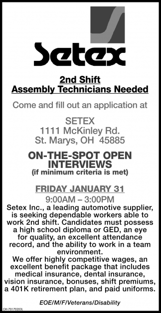 2nd Shift Assembly Technicians Needed
