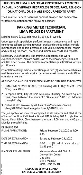 Parking Meter Technician - Lima Police Department