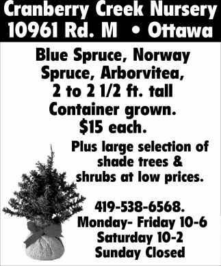 Cranberry Creek Nursery Home Garden Ads From The Lima News