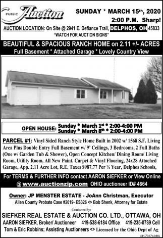 Public Auction - March 15th