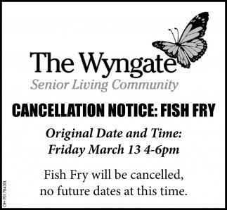 Cancellation Notice Fish Fry