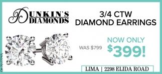 3/3/4 CTW diamond Earrings - Now Only! $399