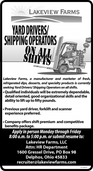 Yard Drivers, Shipping Operators