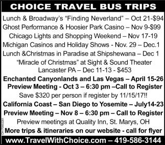 Choice Travel Bus Trips