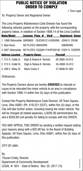 Public Notice of Violation Order to Comply