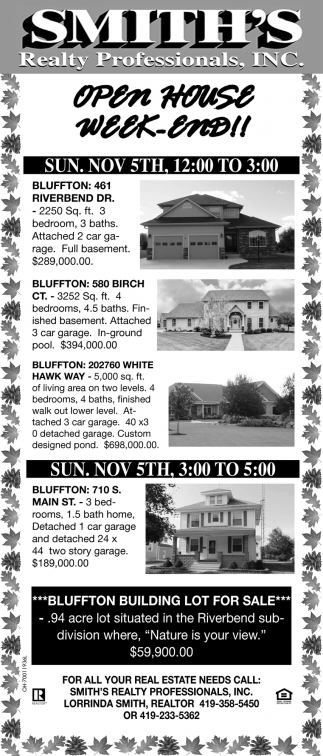 Open House Week-End!, Smith\'s Realty Professionals, Bluffton, OH