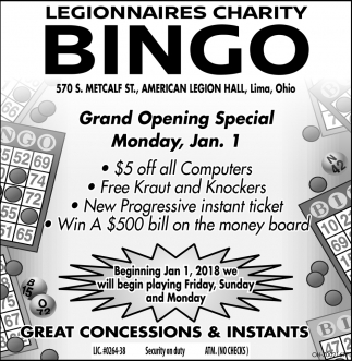 Grand Opening SPecial Monday, Jan. 1