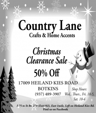 Christmas Clearance Sale 50% off, Country Lane Crafts and Home ...