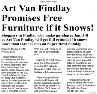 Free Furniture if it Snows!
