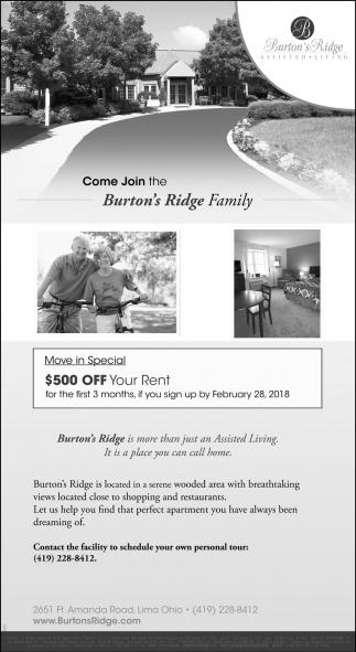 Come Join the Burton's Ridge Family