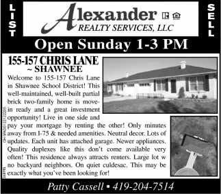 Open Sunday 1-3 pm
