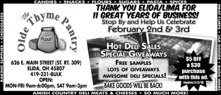 Hot deli sales special giveaways