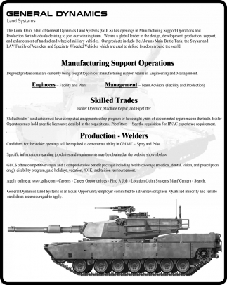 Manufacturing Support Operations / Production